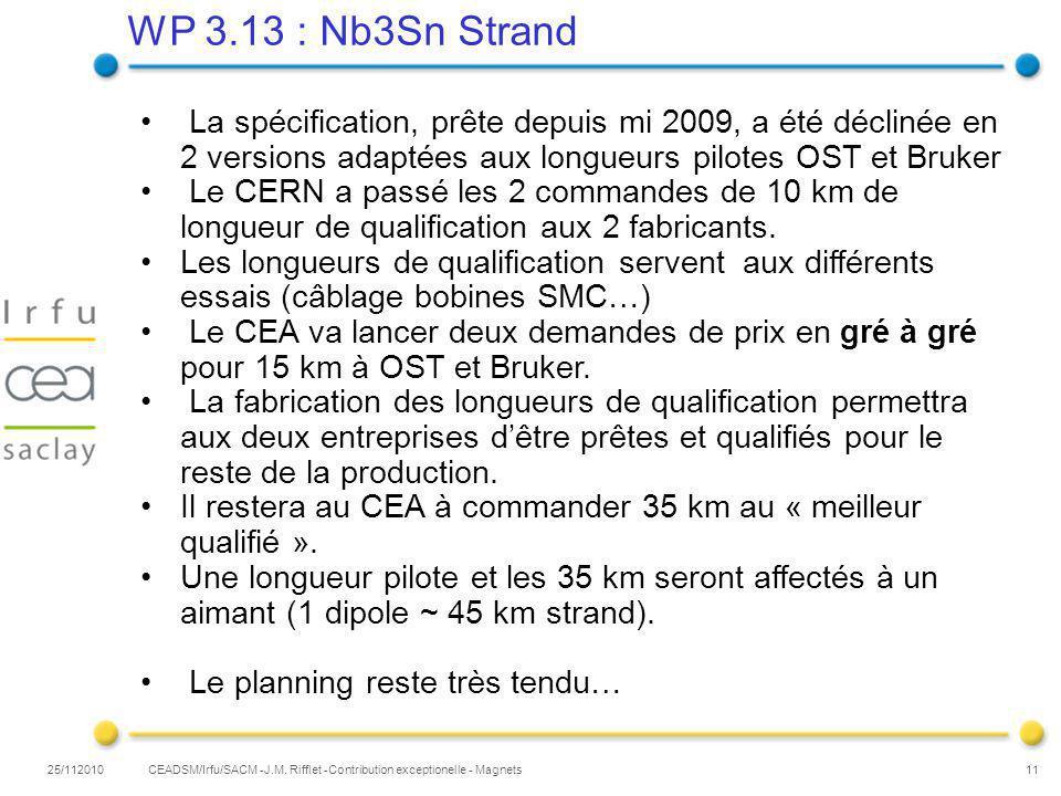 WP 3.13 : Nb3Sn Strand 25/112010 11 CEADSM/Irfu/SACM -J.M.