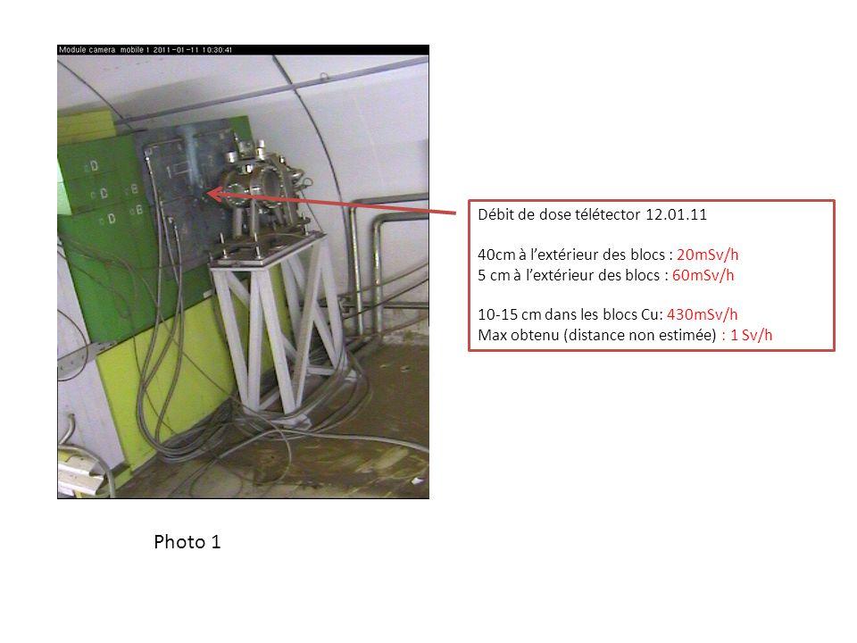 Débit de dose télétector 12.01.11 40cm à lextérieur des blocs : 20mSv/h 5 cm à lextérieur des blocs : 60mSv/h 10-15 cm dans les blocs Cu: 430mSv/h Max