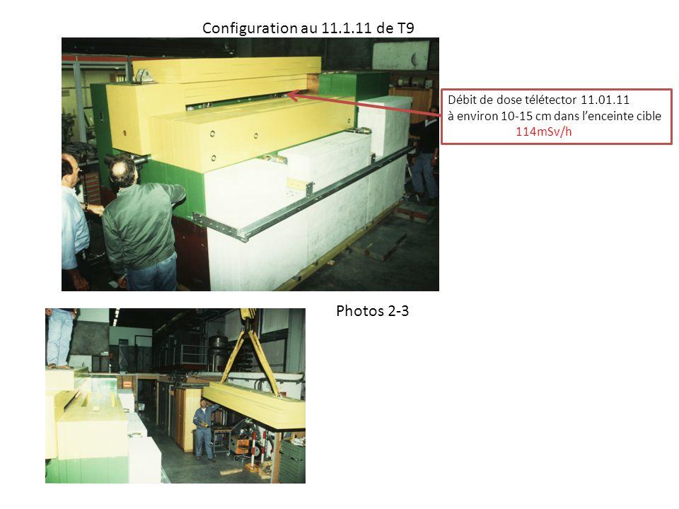 Débit de dose télétector intérieur enceinte T9 - 12.01.11- Contact entrée blocs Cu - 114 à 165mSv/h Contact ancrage cible - 25mSv/h Entraxe - 15mSv/h Contact ancrage cible - 7.5mSv/h Contact mire - 3.5mSv/h