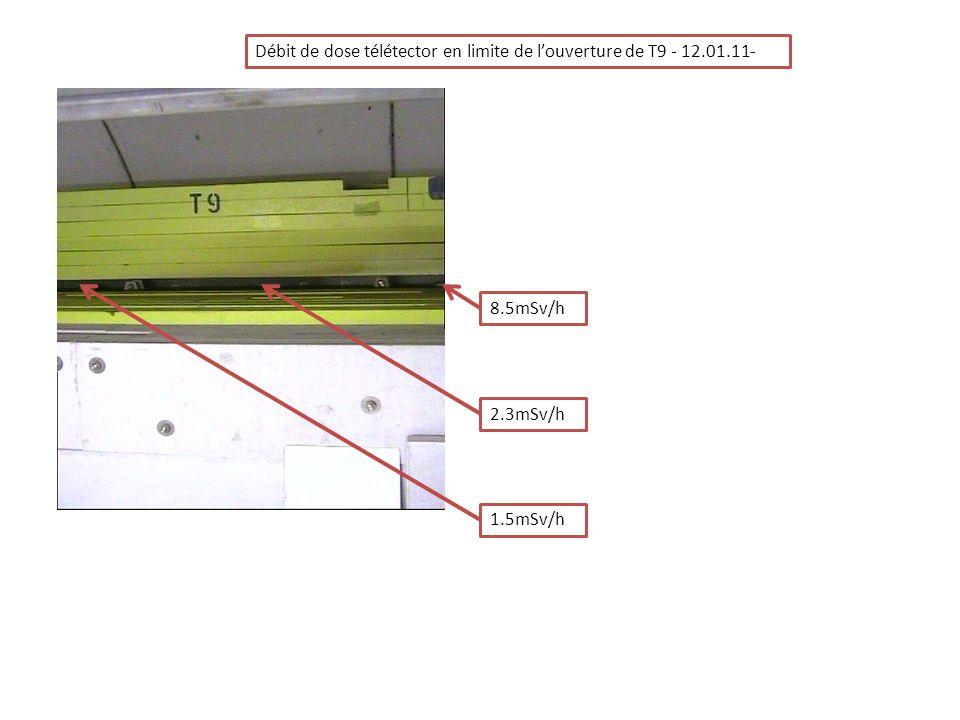 Débit de dose télétector en limite de louverture de T9 - 12.01.11- 8.5mSv/h 2.3mSv/h 1.5mSv/h