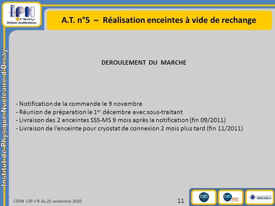 A.T. n°5 – Réalisation enceintes à vide de rechange CERN CSP n°4 du 25 novembre 2010 11 DEROULEMENT DU MARCHE - Notification de la commande le 9 novem