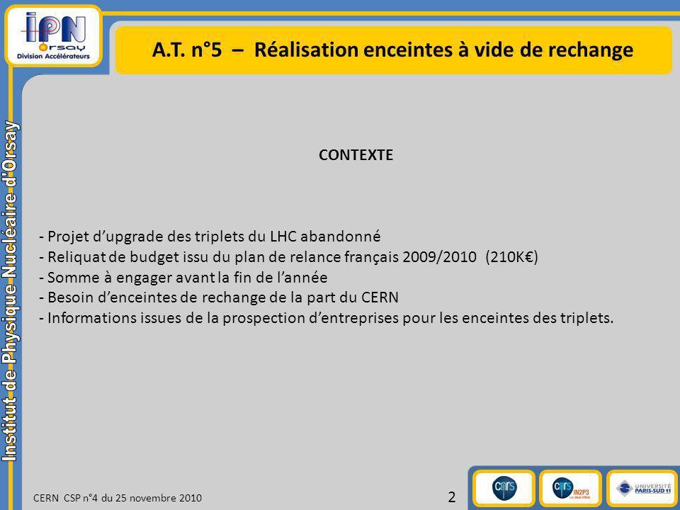 A.T. n°5 – Réalisation enceintes à vide de rechange CERN CSP n°4 du 25 novembre 2010 2 CONTEXTE - Projet dupgrade des triplets du LHC abandonné - Reli