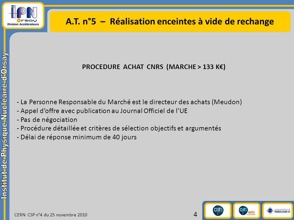 A.T. n°5 – Réalisation enceintes à vide de rechange CERN CSP n°4 du 25 novembre 2010 4 PROCEDURE ACHAT CNRS (MARCHE > 133 K) - La Personne Responsable