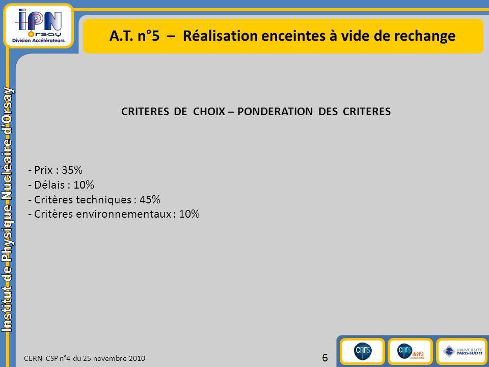 A.T. n°5 – Réalisation enceintes à vide de rechange CERN CSP n°4 du 25 novembre 2010 6 CRITERES DE CHOIX – PONDERATION DES CRITERES - Prix : 35% - Dél