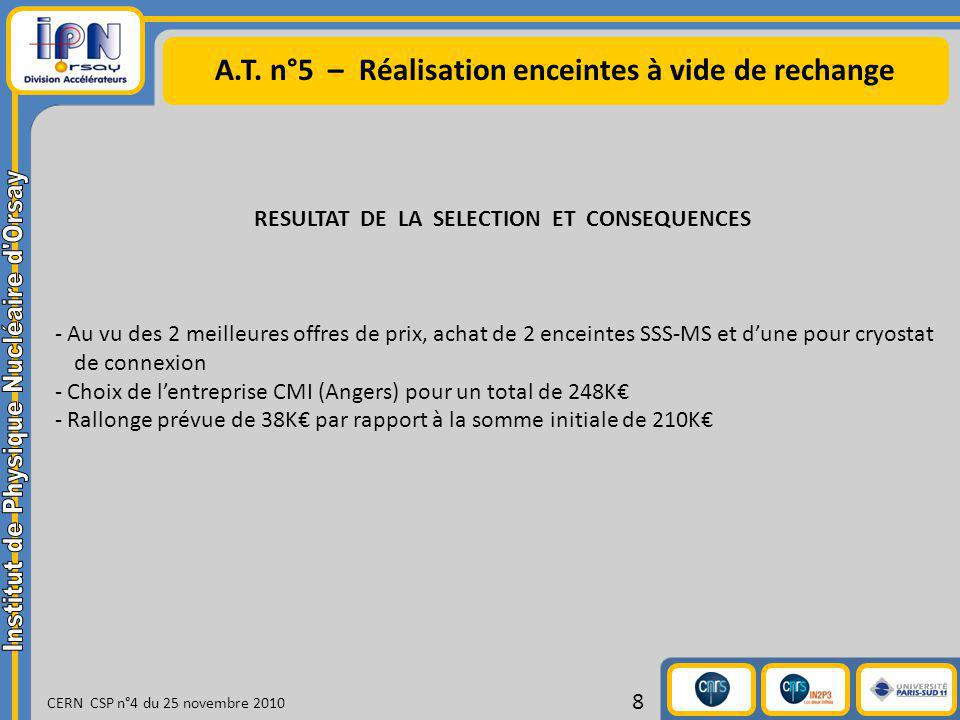 A.T. n°5 – Réalisation enceintes à vide de rechange CERN CSP n°4 du 25 novembre 2010 8 RESULTAT DE LA SELECTION ET CONSEQUENCES - Au vu des 2 meilleur