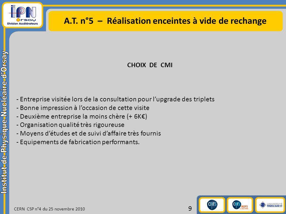 A.T. n°5 – Réalisation enceintes à vide de rechange CERN CSP n°4 du 25 novembre 2010 9 CHOIX DE CMI - Entreprise visitée lors de la consultation pour