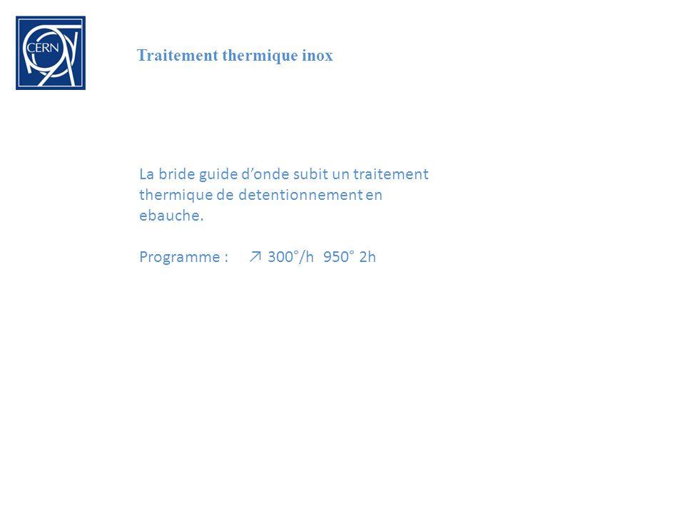 Traitement thermique inox La bride guide donde subit un traitement thermique de detentionnement en ebauche. Programme : 300°/h 950° 2h