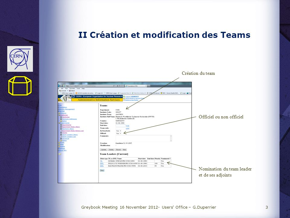 II Création et modification des Teams Greybook Meeting 16 November 2012- Users Office – G.Duperrier3 Création du team Officiel ou non officiel Nomination du team leader et de ses adjoints