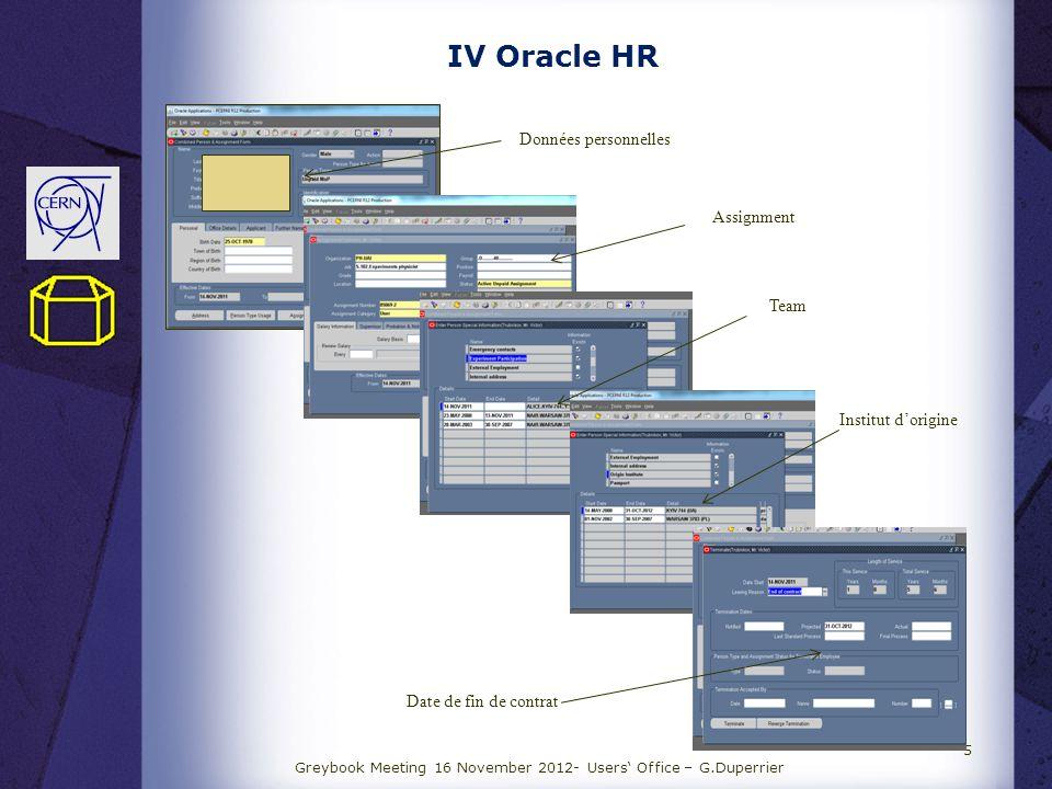 IV Oracle HR Greybook Meeting 16 November 2012- Users Office – G.Duperrier 5 Données personnelles Assignment Team Institut dorigine Date de fin de con