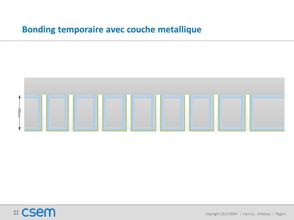 Copyright 2013 CSEM | Vias-Cu| A.Pezous | Page 4 Bonding temporaire avec couche metallique