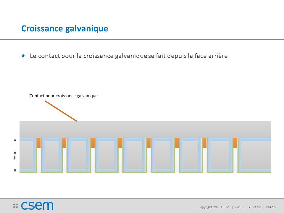 Copyright 2013 CSEM | Vias-Cu| A.Pezous | Page 5 Croissance galvanique Le contact pour la croissance galvanique se fait depuis la face arrière