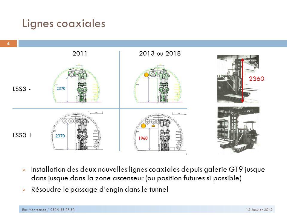 Lignes coaxiales 12 Janvier 2012Eric Montesinos / CERN-BE-RF-SR 4 Installation des deux nouvelles lignes coaxiales depuis galerie GT9 jusque dans jusque dans la zone ascenseur (ou position futures si possible) Résoudre le passage dengin dans le tunnel LSS3 - LSS3 + 20112013 ou 2018 2360