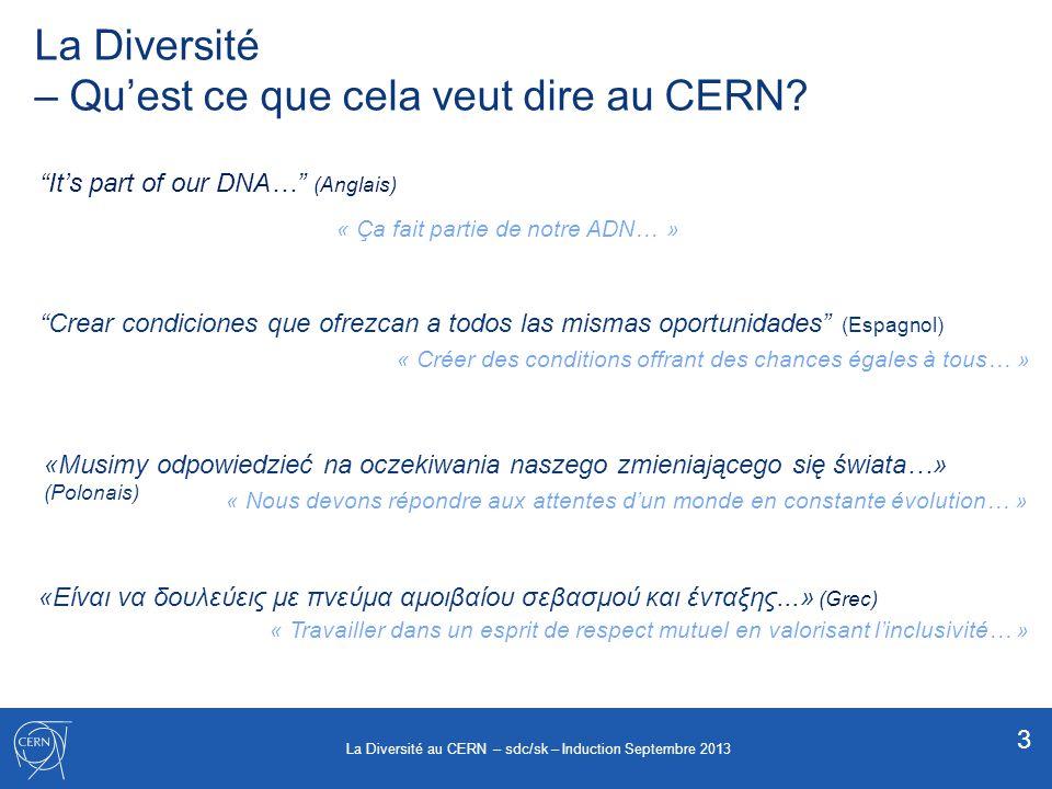 Les Dimensions de la Diversité action positive discrimination positive permettre à chacun de jouer un rôle …sans favoriser personne 4 La Diversité au CERN – sdc/sk – Induction Septembre 2013