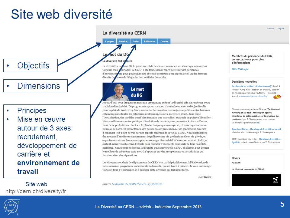 Site web diversité Site web http://cern.ch/diversity/fr Objectifs Dimensions Principes Mise en œuvre autour de 3 axes: recrutement, développement de c