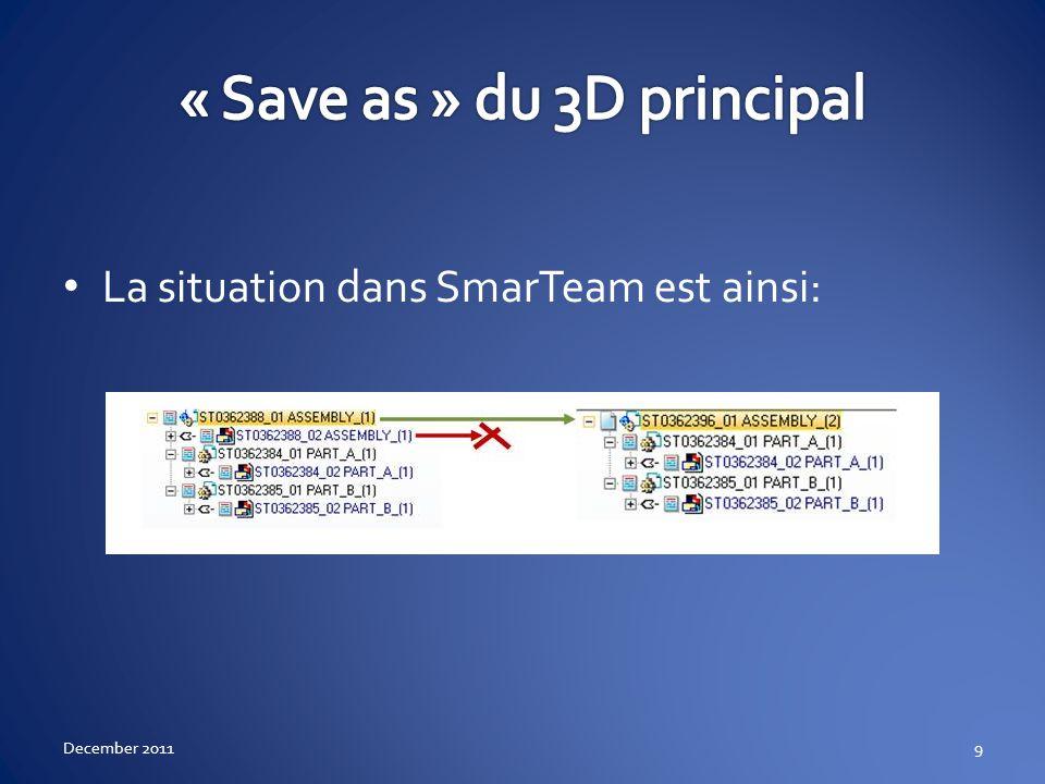 Retournez dans Catia, cliquez sur le Drawing Puis menu SmarTeam / « Save as » December 201110