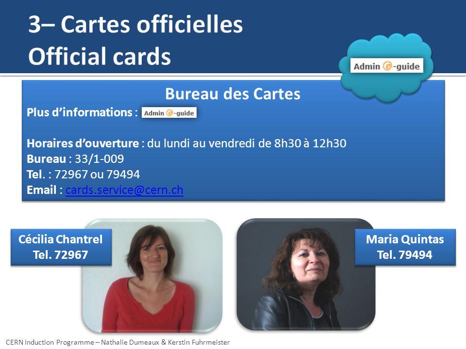 Cécilia Chantrel Tel.72967 Cécilia Chantrel Tel. 72967 Maria Quintas Tel.