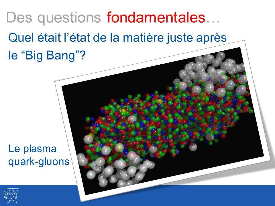 Des questions fondamentales… Quel était létat de la matière juste après le Big Bang? Le plasma quark-gluons