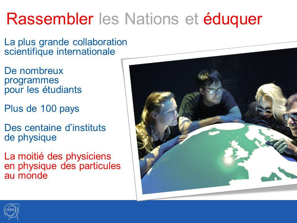 Rassembler les Nations et éduquer La plus grande collaboration scientifique internationale De nombreux programmes pour les étudiants Plus de 100 pays