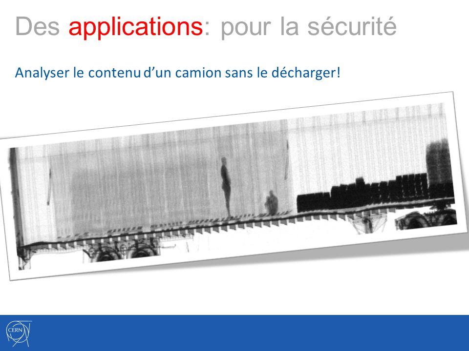 Des applications: pour la sécurité Analyser le contenu dun camion sans le décharger!