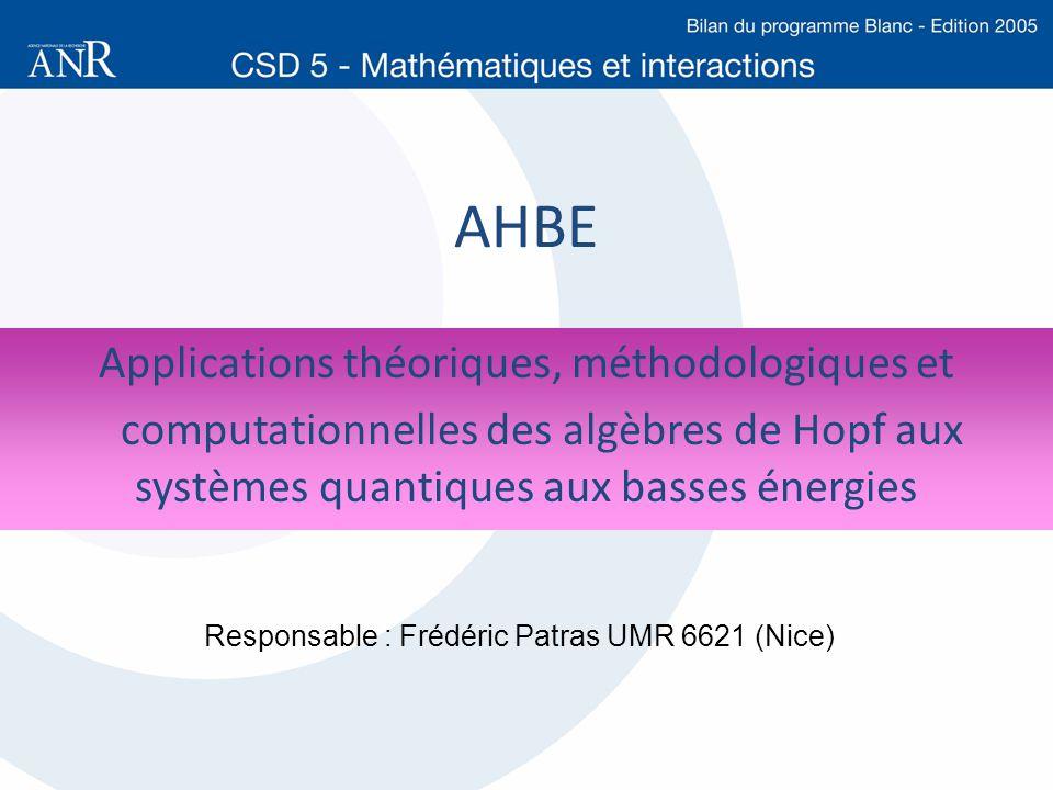 AHBE Applications théoriques, méthodologiques et computationnelles des algèbres de Hopf aux systèmes quantiques aux basses énergies Responsable : Fréd
