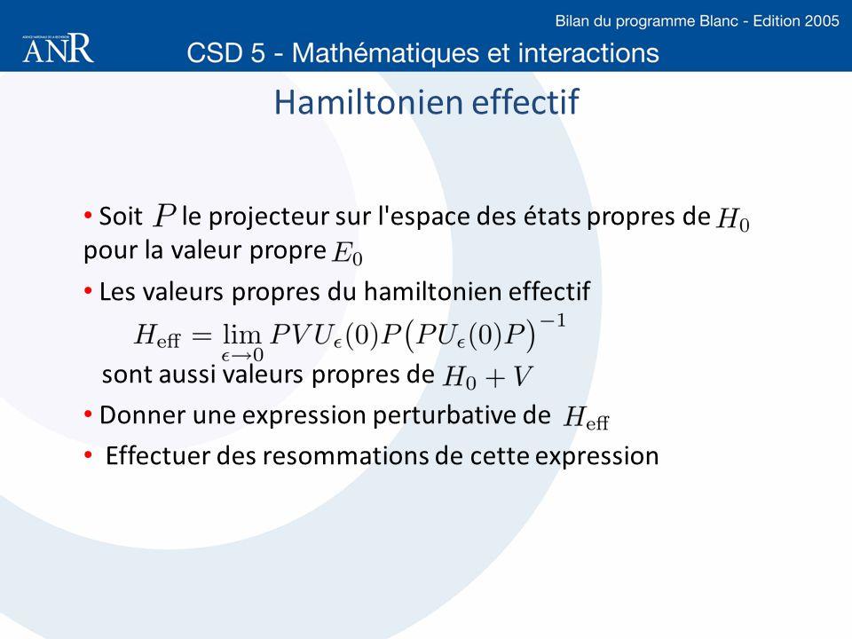 Hamiltonien effectif Soit le projecteur sur l'espace des états propres de pour la valeur propre Les valeurs propres du hamiltonien effectif sont aussi