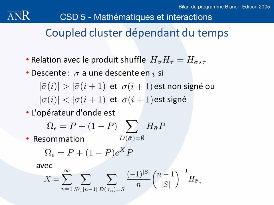 Coupled cluster dépendant du temps Relation avec le produit shuffle Descente : a une descente en si et est non signé ou et est signé L'opérateur d'ond