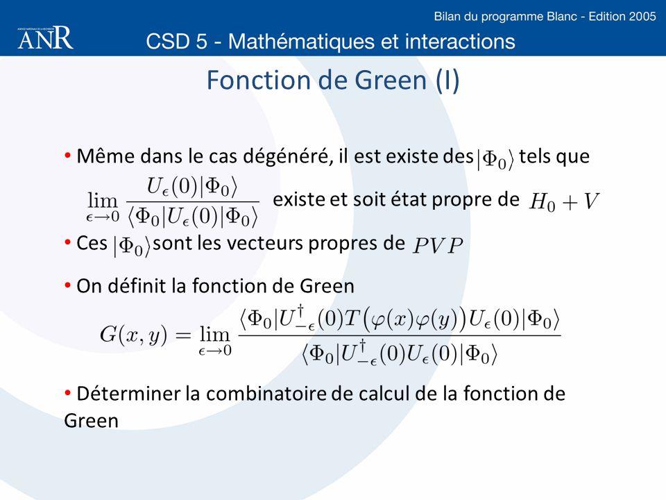Fonction de Green (I) Même dans le cas dégénéré, il est existe des tels que existe et soit état propre de Ces sont les vecteurs propres de On définit