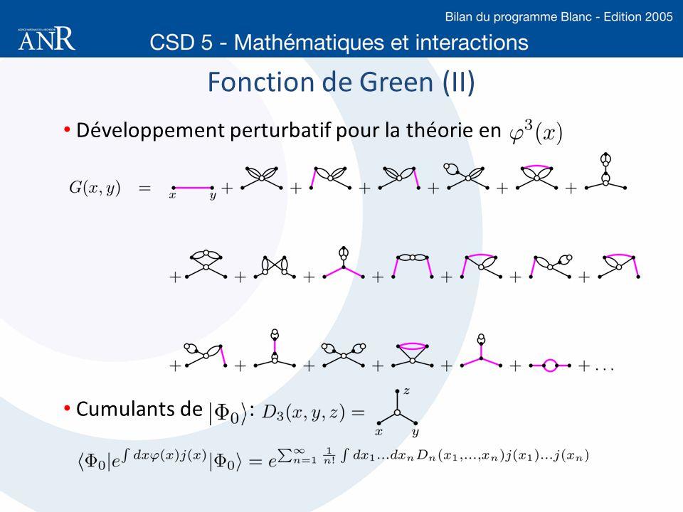 Fonction de Green (II) Développement perturbatif pour la théorie en Cumulants de :