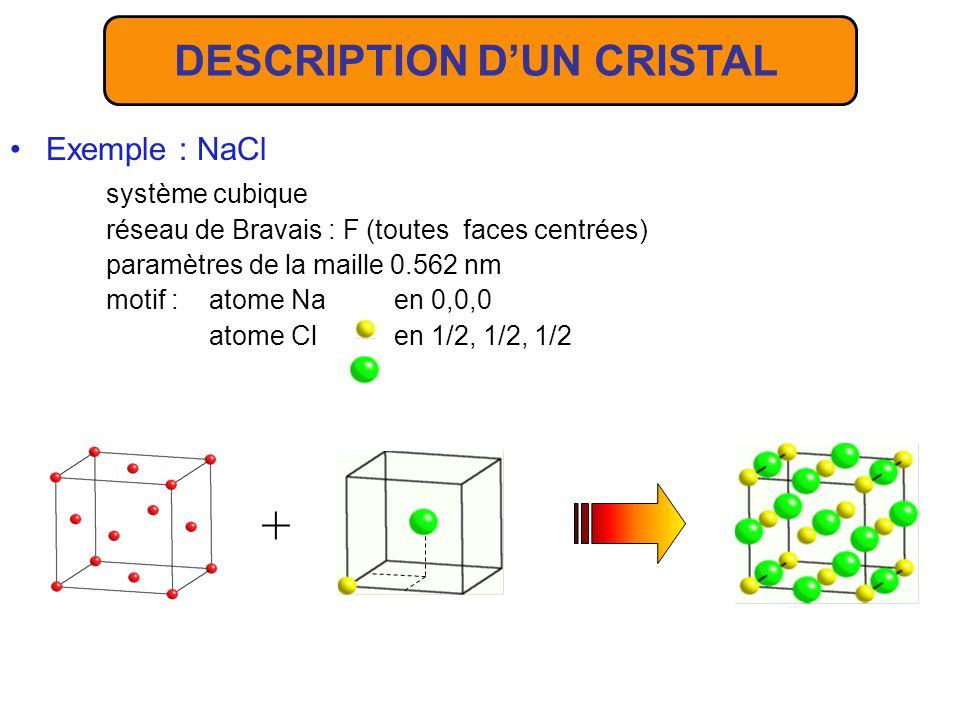 Exemple : NaCl système cubique réseau de Bravais : F (toutes faces centrées) paramètres de la maille 0.562 nm motif : atome Na en 0,0,0 atome Cl en 1/