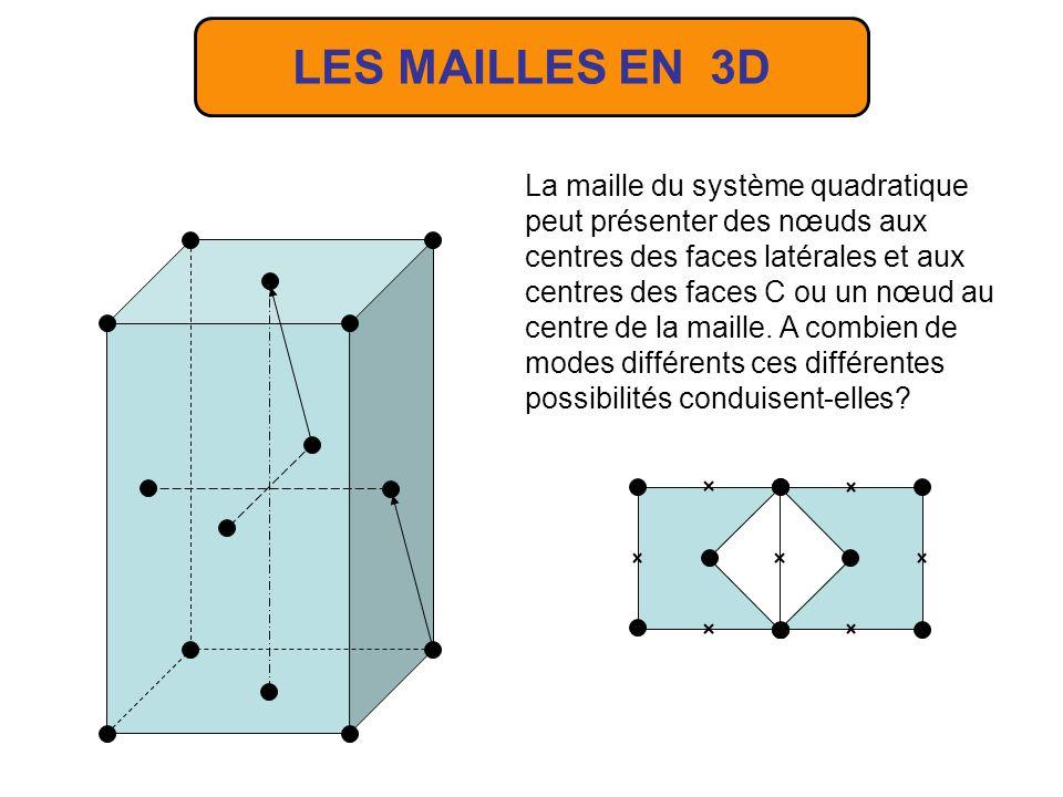 La maille du système quadratique peut présenter des nœuds aux centres des faces latérales et aux centres des faces C ou un nœud au centre de la maille