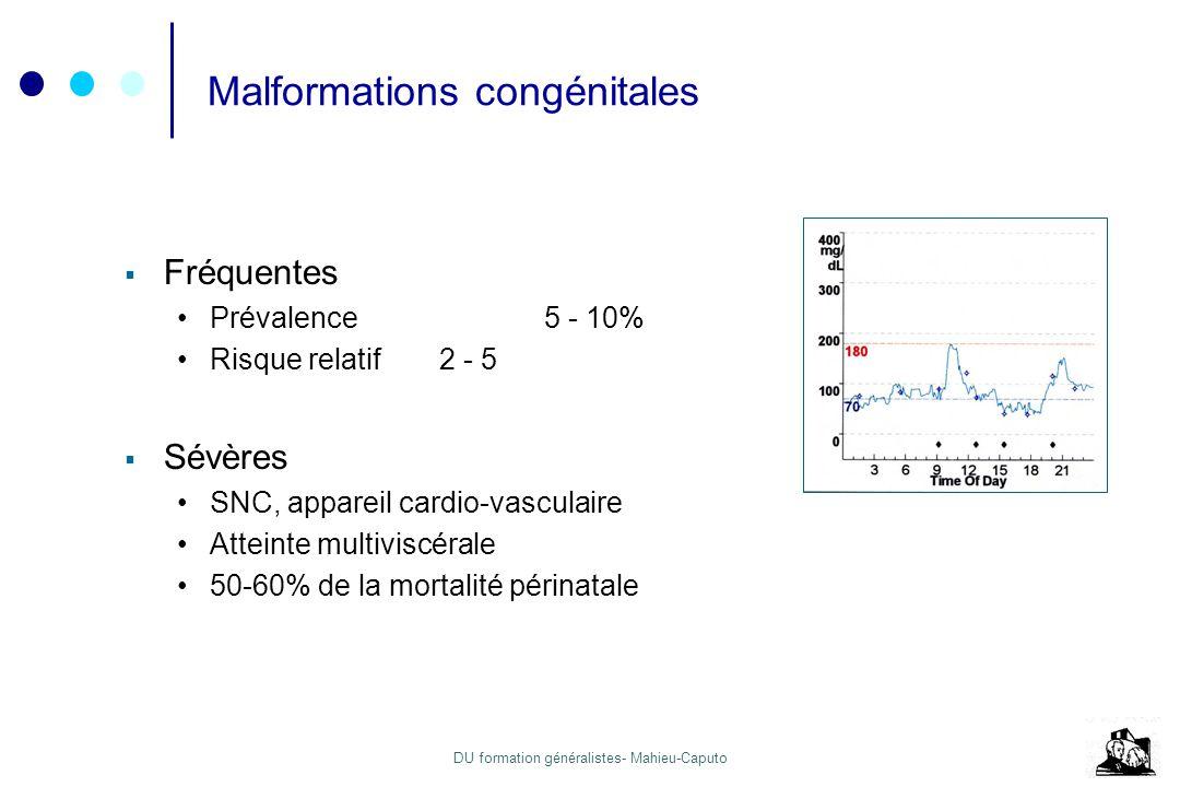 DU formation généralistes- Mahieu-Caputo Malformations congénitales Fréquentes Prévalence5 - 10% Risque relatif2 - 5 Sévères SNC, appareil cardio-vasc