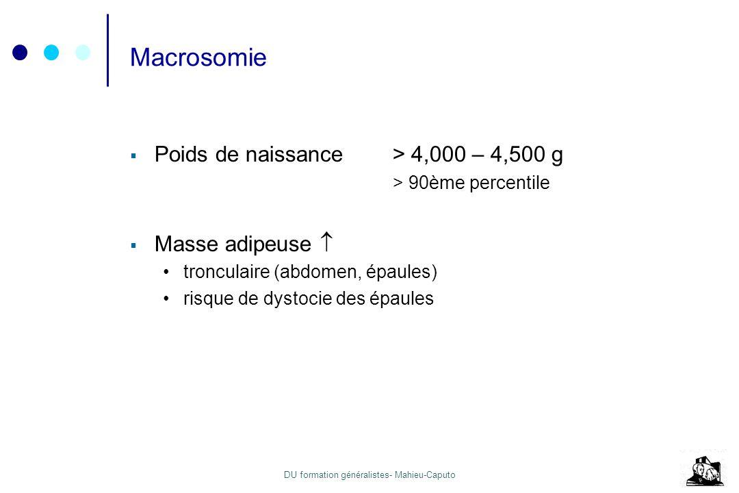 DU formation généralistes- Mahieu-Caputo Macrosomie Poids de naissance> 4,000 – 4,500 g > 90ème percentile Masse adipeuse tronculaire (abdomen, épaule