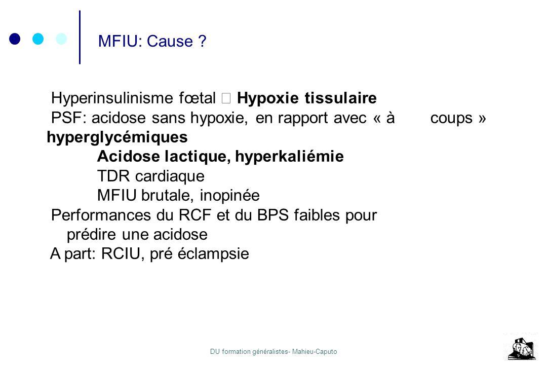 DU formation généralistes- Mahieu-Caputo MFIU: Cause ? Hyperinsulinisme fœtal Hypoxie tissulaire PSF: acidose sans hypoxie, en rapport avec « à coups