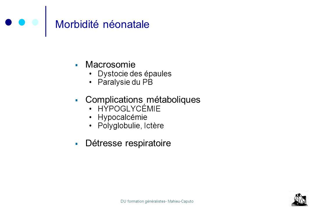 DU formation généralistes- Mahieu-Caputo Morbidité néonatale Macrosomie Dystocie des épaules Paralysie du PB Complications métaboliques HYPOGLYCÉMIE H