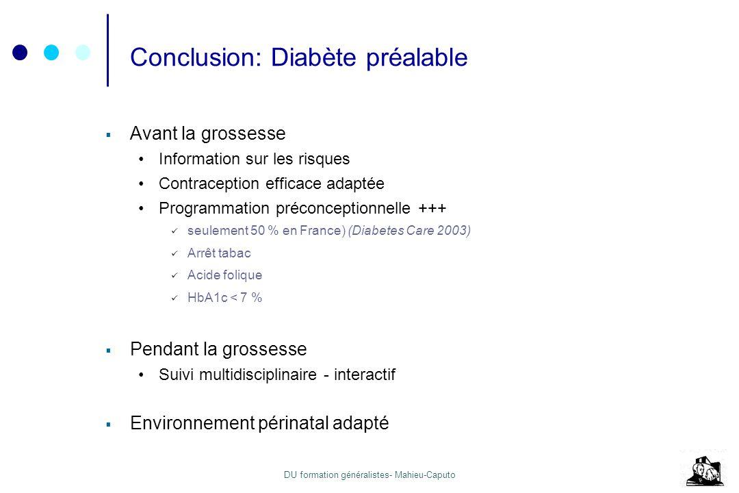 DU formation généralistes- Mahieu-Caputo Conclusion: Diabète préalable Avant la grossesse Information sur les risques Contraception efficace adaptée P