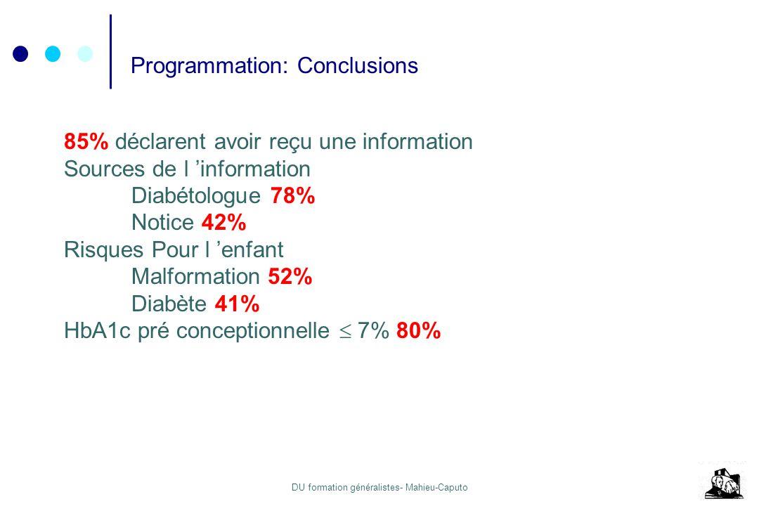 DU formation généralistes- Mahieu-Caputo Programmation: Conclusions 85% déclarent avoir reçu une information Sources de l information Diabétologue 78%
