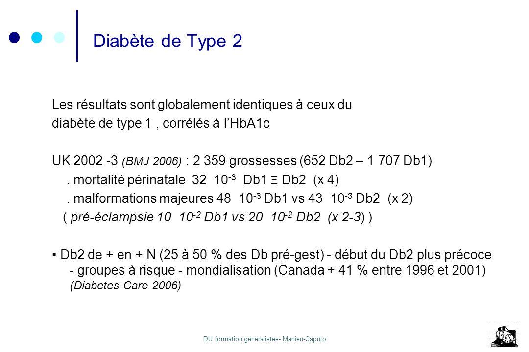 DU formation généralistes- Mahieu-Caputo Diabète de Type 2 Les résultats sont globalement identiques à ceux du diabète de type 1, corrélés à lHbA1c UK
