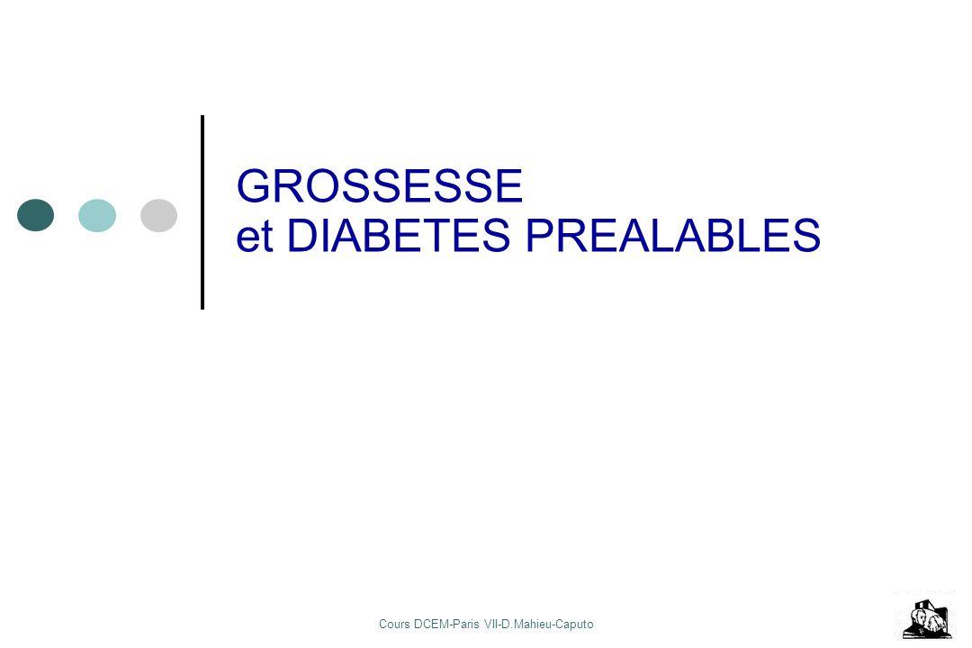 Cours DCEM-Paris VII-D.Mahieu-Caputo GROSSESSE et DIABETES PREALABLES