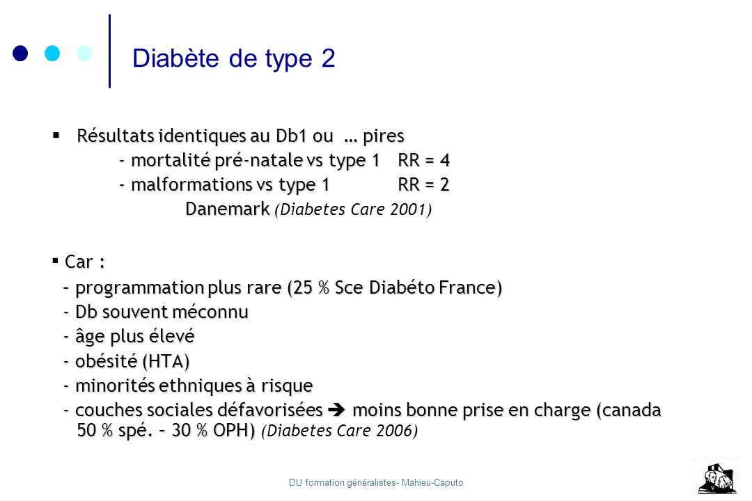 DU formation généralistes- Mahieu-Caputo Diabète de type 2 Résultats identiques au Db1 ou … pires Résultats identiques au Db1 ou … pires - mortalité p