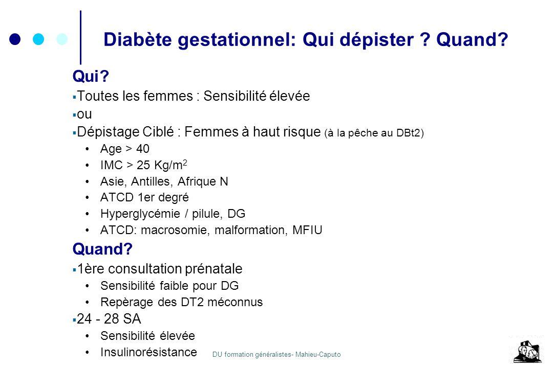 DU formation généralistes- Mahieu-Caputo Diabète gestationnel: Qui dépister ? Quand? Qui? Toutes les femmes : Sensibilité élevée ou Dépistage Ciblé :