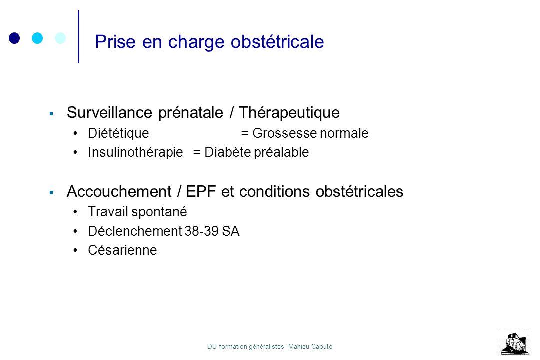 DU formation généralistes- Mahieu-Caputo Prise en charge obstétricale Surveillance prénatale / Thérapeutique Diététique = Grossesse normale Insulinoth