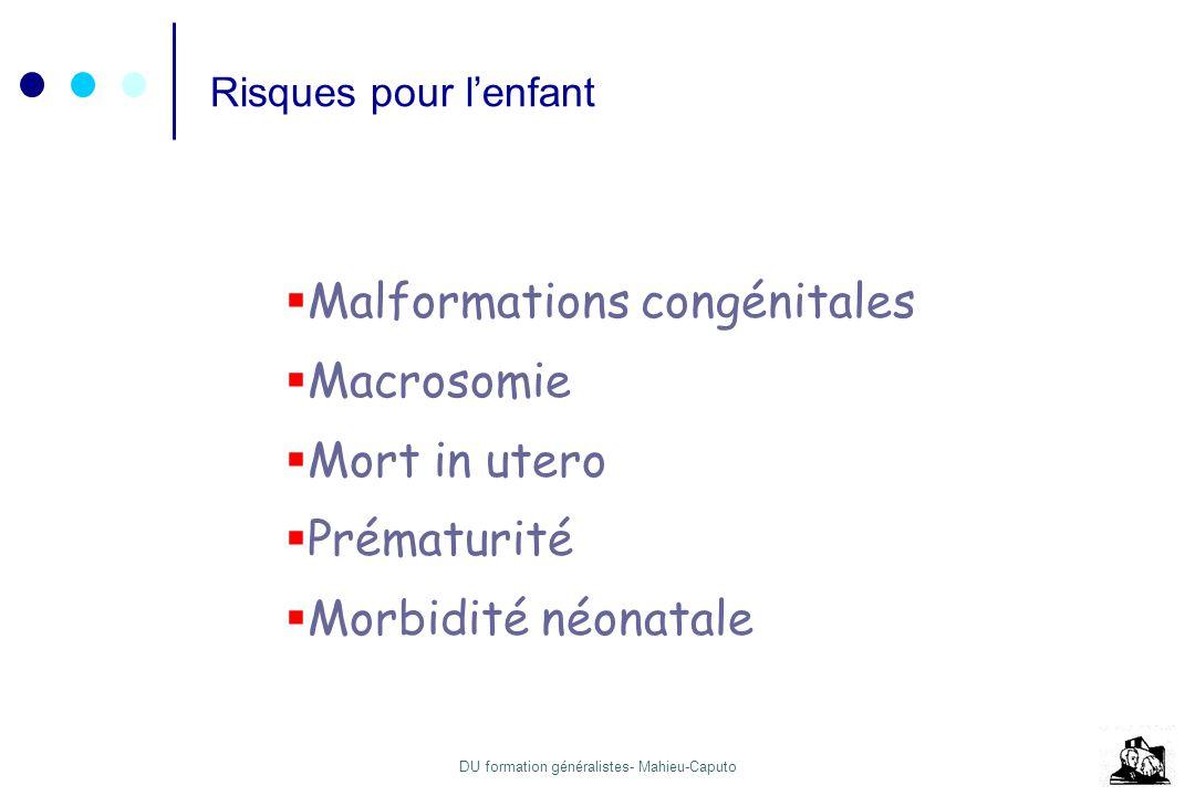 DU formation généralistes- Mahieu-Caputo Mort fœtale in utero 2 - 3% 4 - 8 dernières semaines de grossesse Risque par Glycémie à jeun > 1.05 g/L Déséquilibre Acidocétose (risque MFIU = 20%) Pré éclampsie