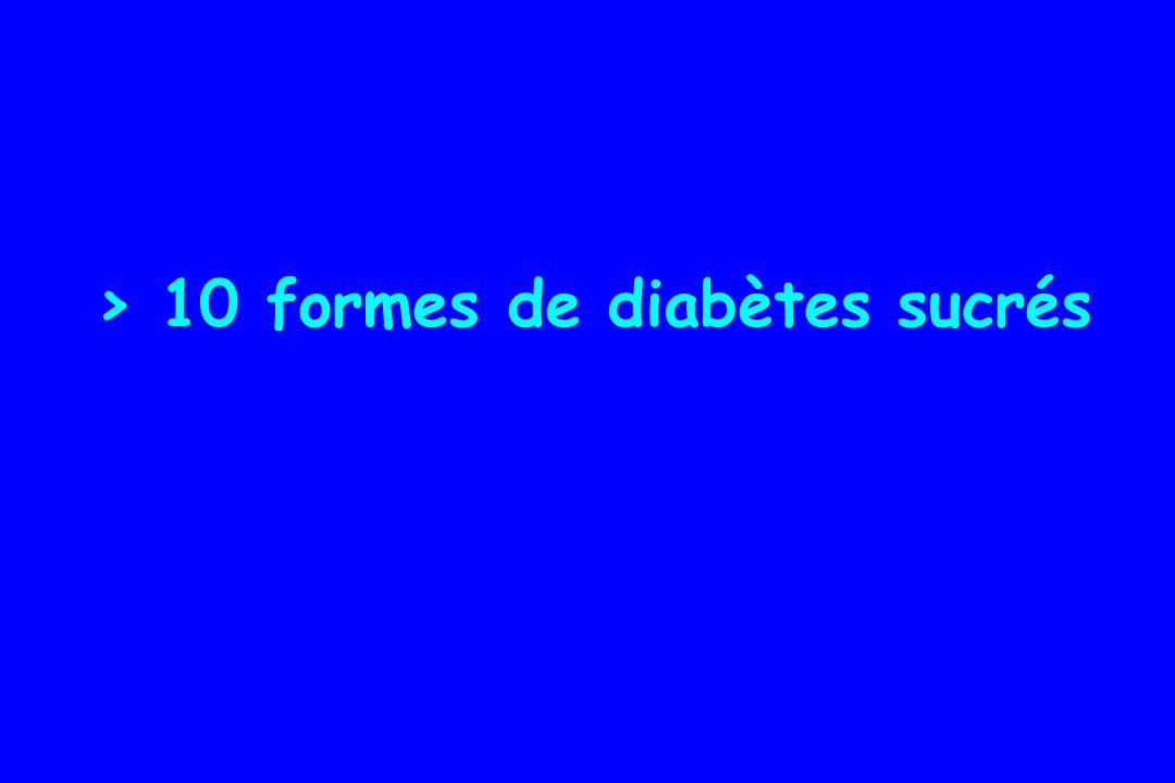 10 formes de diabètes sucrés Ne plus parler de Diabète « insulinodépendant » Diabète « non insulinodépendant » MAIS TYPE 1 ET TYPE 2