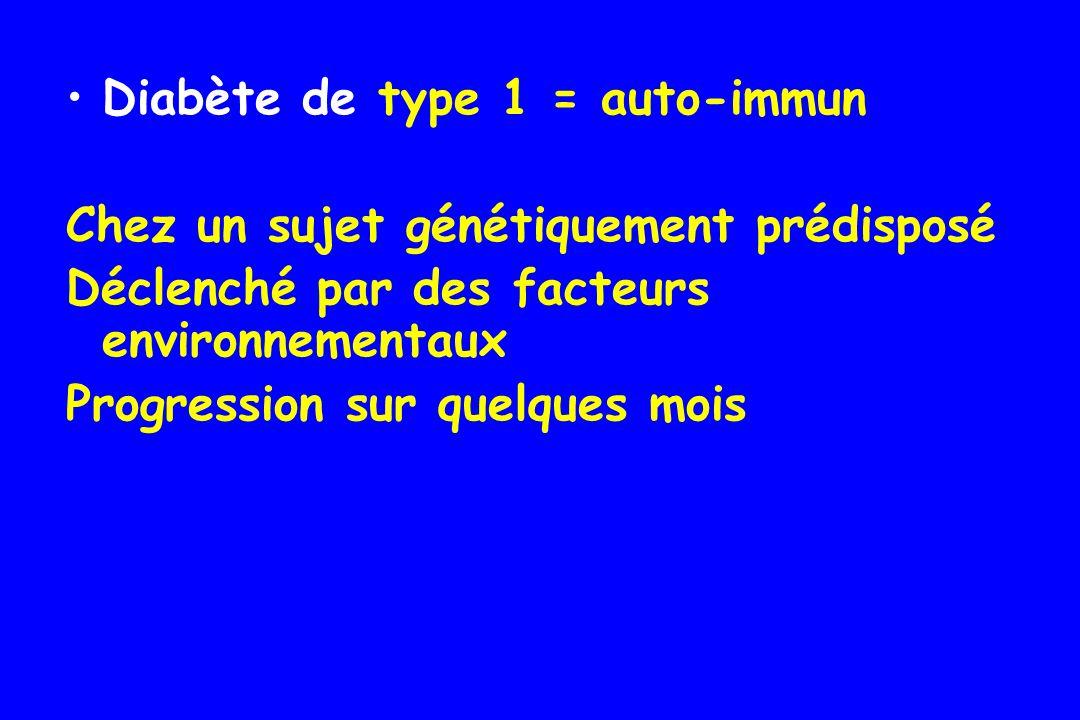 Diabète de type 1 = auto-immun « sujet jeune » mais tout âge possible typiquement avant lâge de 40 ans