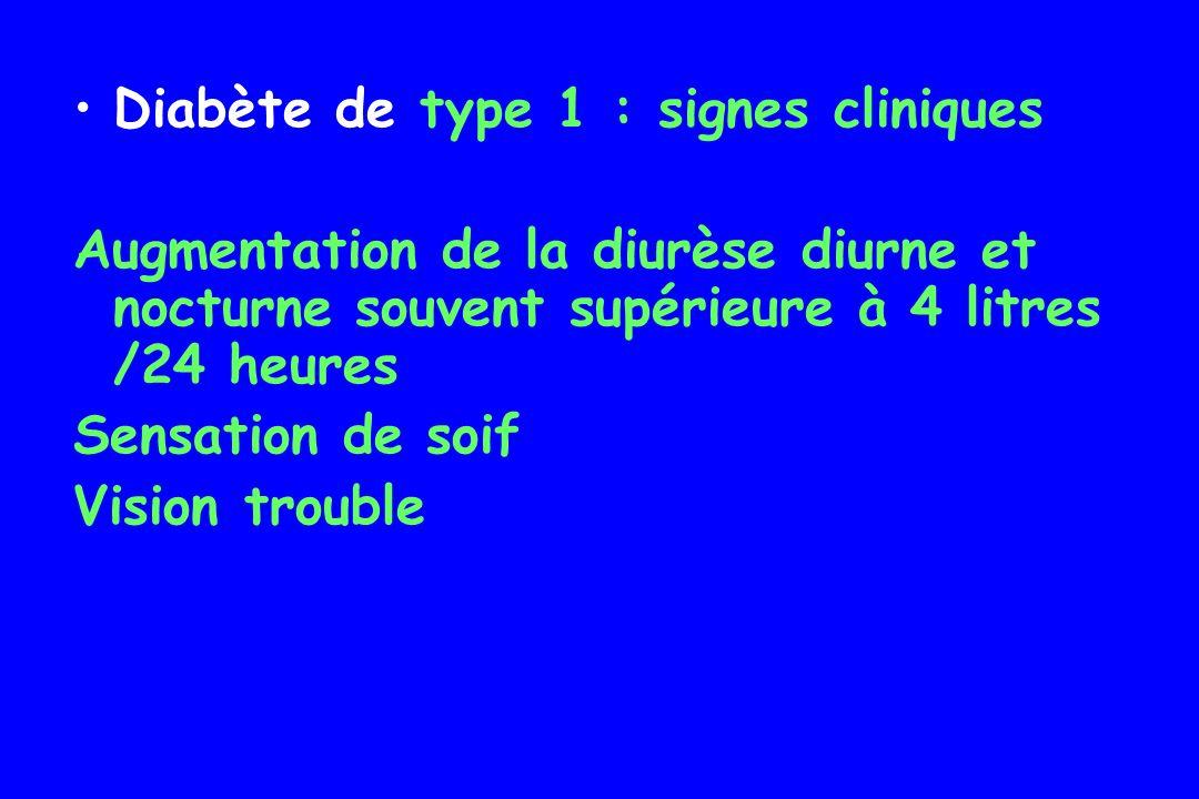 Diabète de type 1 : signes cliniques Perte de poids : Initiale : déplétion hydrique, déplétion des stocks de glycogène et de triglycérides Chronique : réduction de la masse musculaire car acides aminés se transforment en glucose et en corps cétoniques