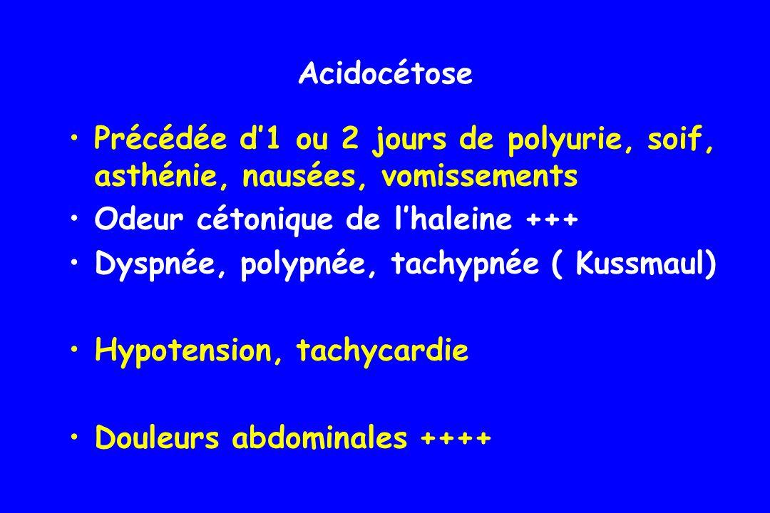 Troubles de conscience, coma (seuil variable) Acidocétose : coma potentiel