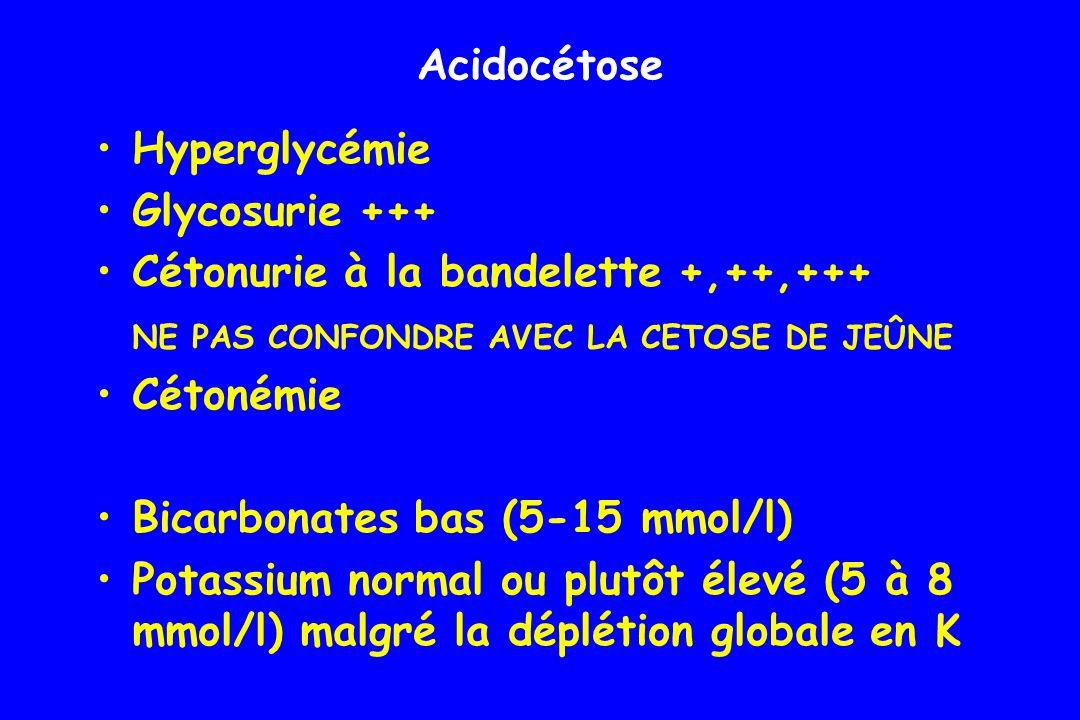 pH < 7,2 pCO2 basse par hyperventilation (15 à 20 mm Hg) Amylase peut être élevée, non spécifique Acidocétose