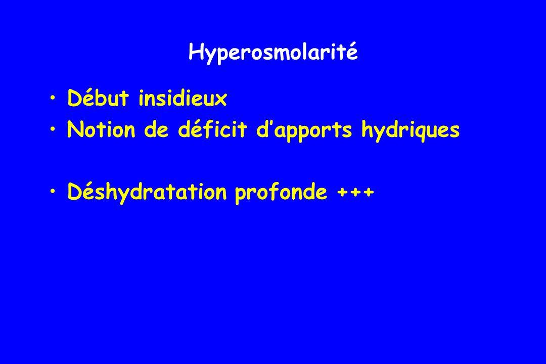 Hyperglycémie sévère : 8 à 24 g/l Dans les formes peu sévères : Hyponatrémie de dilution et de perte urinaire (120-125 mmol/l) Dans les formes sévères : Na > 130 mmol/L Hyperosmolarité : coma potentiel