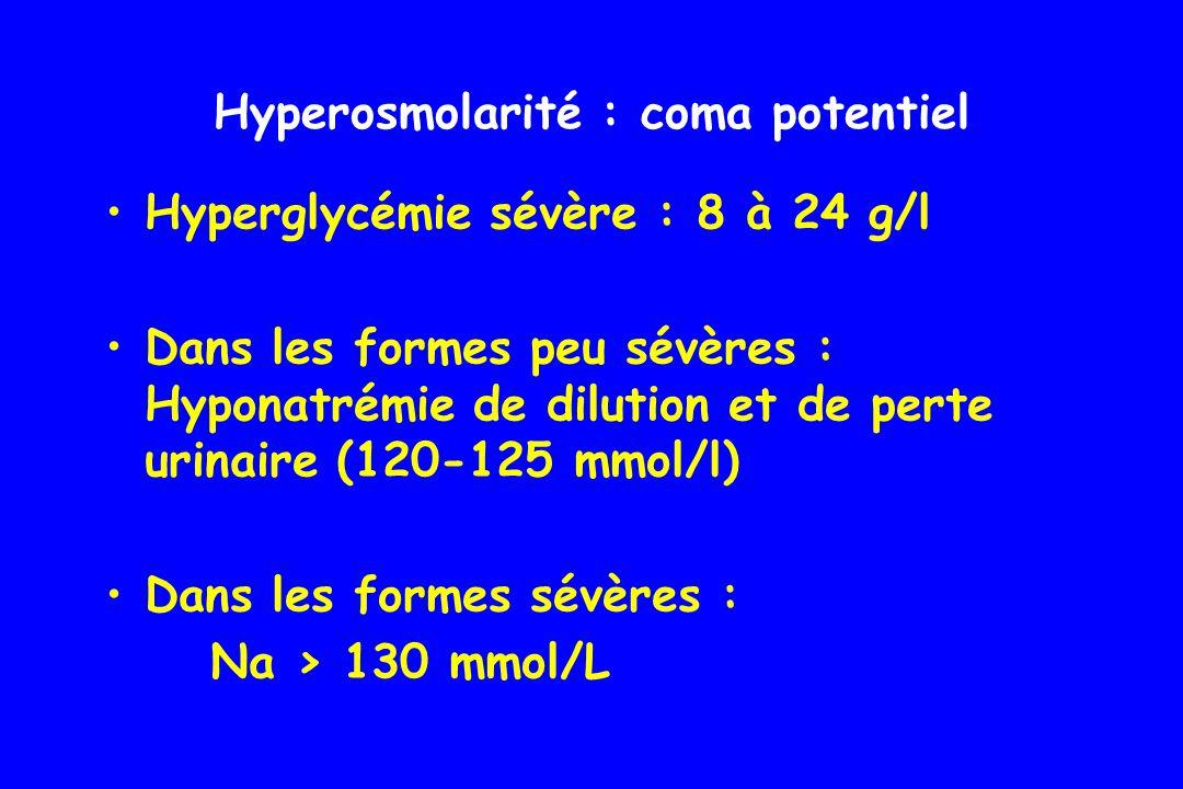 Accumulation de lactates > 5 mmol/l Trou anionique > 15 mmol/l (Na-(bicar + Cl)) Métabolisme du glucose en anaérobie Sous traitement par biguanides Acidose lactique : coma potentiel