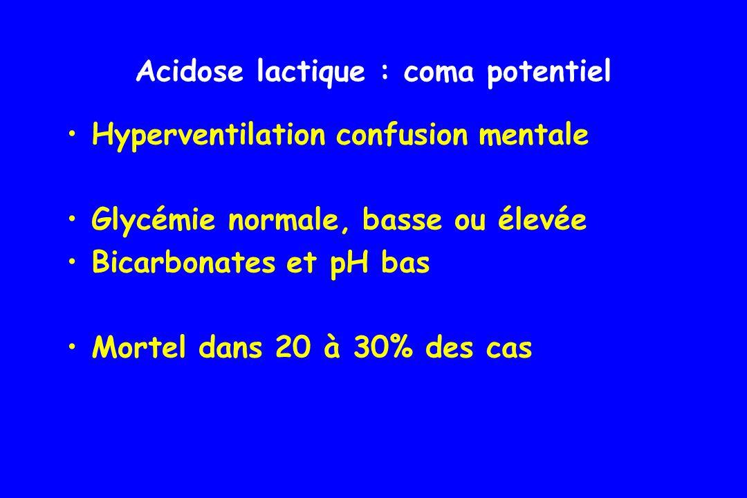 Hypoglycémie : coma potentiel glycémie < 0,5 g/l (2,2 mmol/l) secondaire à un traitement par insuline ou par sulfamides hypoglycémiants